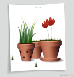 Red flower clay pot vector
