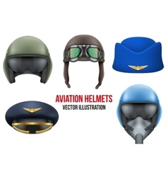 Set of aviator helmets and hats vector