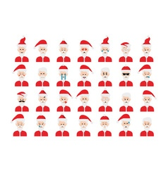 Set of Santa Claus emoticon isolated on white vector image vector image