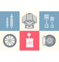 Set parts of car vector
