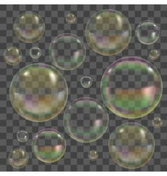 Soap bubbles with reflection set vector