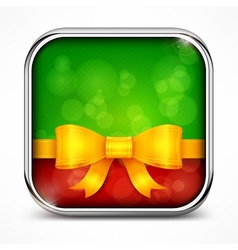 Square green icon bow vector image