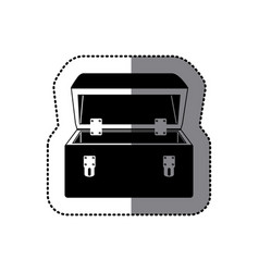 Sticker black silhouette with tool box vector