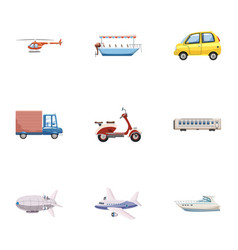 Transport icons set cartoon style vector