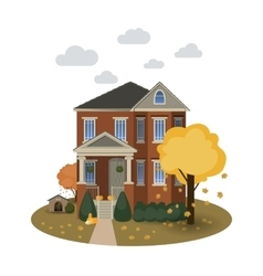 Two story autumn house vector