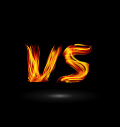 Versus flame letters fight background vector