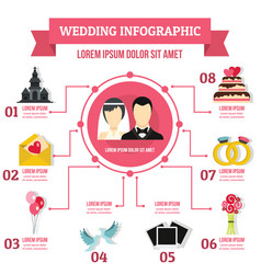 Wedding infographic concept flat style vector