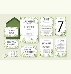 wedding invitation invite card design tree green vector image vector image