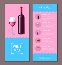 wine map alcoholic menu icons vector image vector image