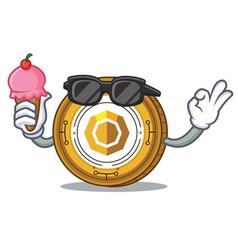 With ice cream komodo coin character cartoon vector