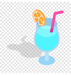 Blue cocktail with slice of orange isometric icon vector