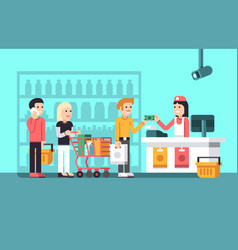 Super market mall interior with people vector