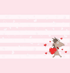 Valentines card with cute hedgehog vector