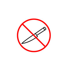 No sharp object line icon prohibition sign vector