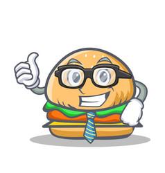 Businessman burger character fast food vector