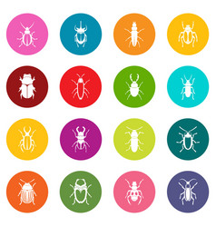 bugs icons many colors set vector image