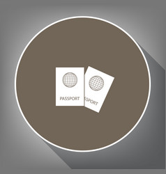 Two passports sign   white vector