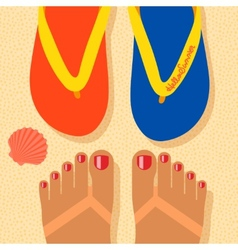 Hello summer - concept background self shoot feet vector