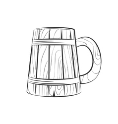 Wooden beer cup vector