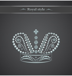 Elegant royal crown on a gray background logo vector