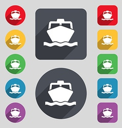 Boat icon sign a set of 12 colored buttons and a vector