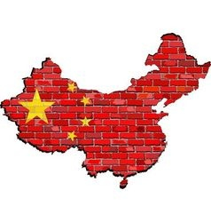 China map on a brick wall vector