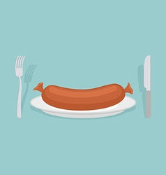 Sausage on a plate cutlery knife and fork meat vector