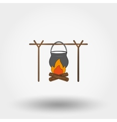 Pot on a campfire vector