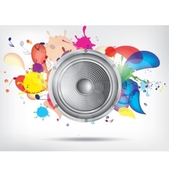 Music background with subwoofer vector image