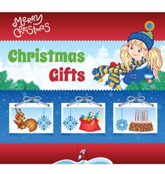 Kid winter background vector image