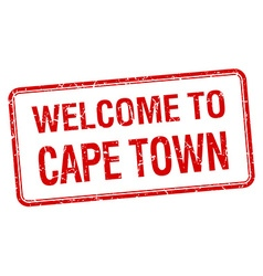 Welcome to cape town red grunge square stamp vector