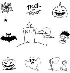 Black white halloween in doodle vector