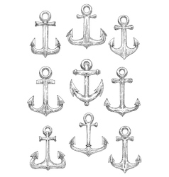 Engraving sketched sailing ships anchors icons vector image