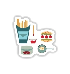 Assembly paper stickers on white unhealthy food vector