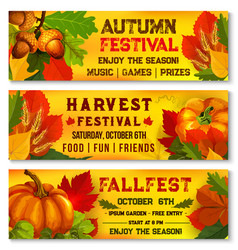 Autumn festival or harvest picnic banners vector