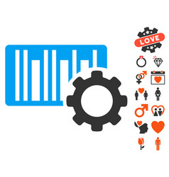 bar code settings icon with love bonus vector image