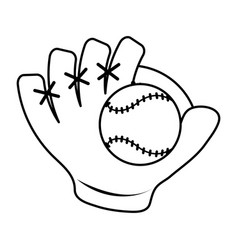Baseball glove and ball icon image vector