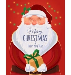 Christmas greeting card poster Santa Claus vector image