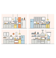 collection of kitchens full of modern furniture vector image