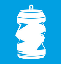Crumpled aluminum cans icon white vector