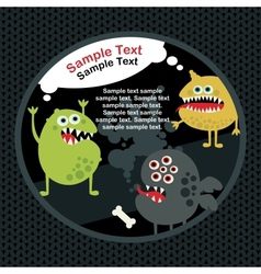Cute monsters banner with bone vector image