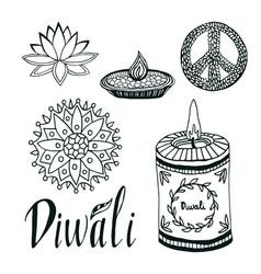 Diwali collection lotus rangoli diya and peace vector