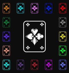 game cards icon sign Lots of colorful symbols for vector image vector image