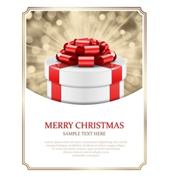 Gift box and light christmas background vector