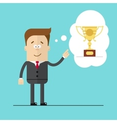 Happy businessman specifies hand on the award vector image vector image