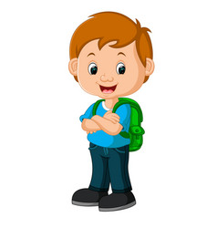 kids boy with backpacks vector image vector image