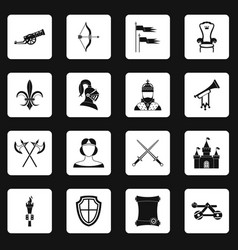 Knight medieval icons set squares vector