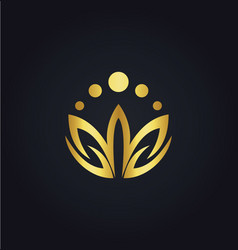 Lotus flower colored gold logo vector