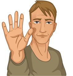 Man making stop gesture vector