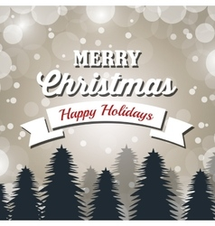 merry christmas card banner and pine snowflakes vector image vector image